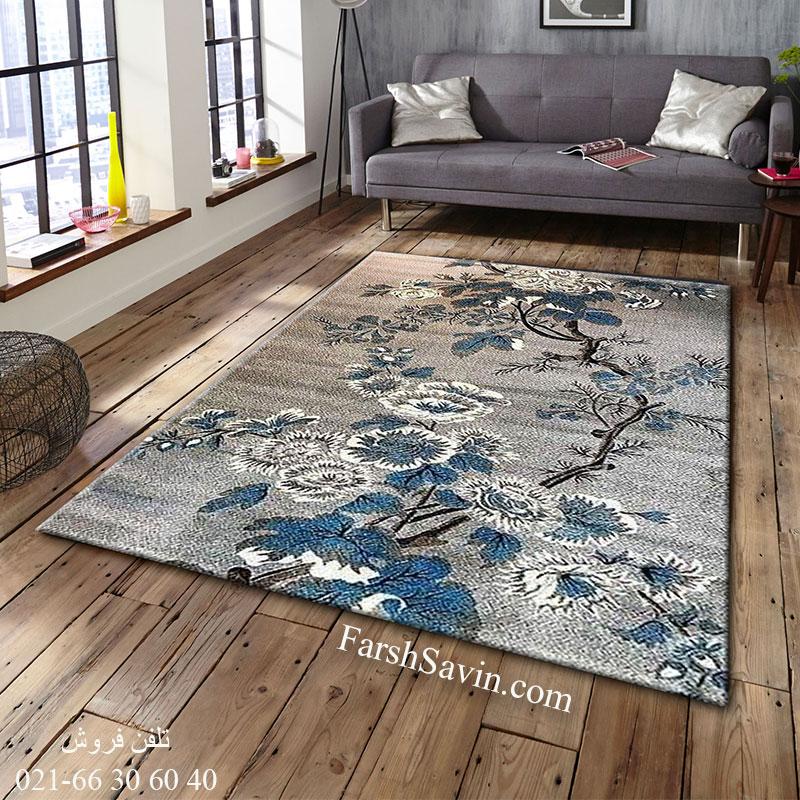 فرش ساوین 4042 نقره ای فرش گبه