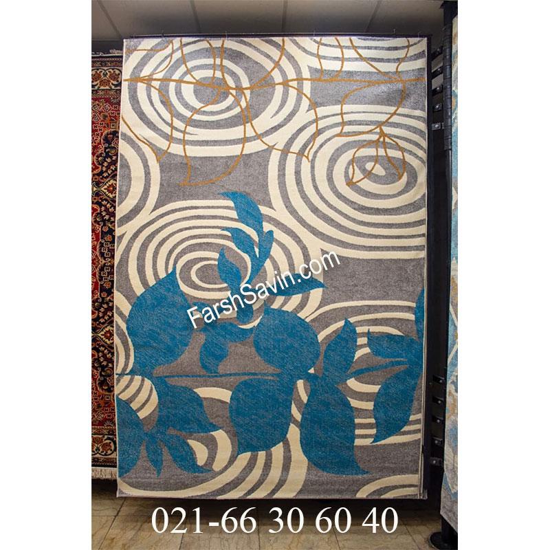 فرش ساوین 4050 زمینه نقره ای مدرن و فانتزی