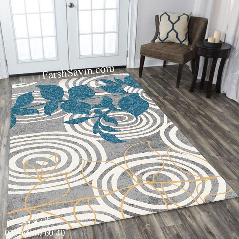 فرش ساوین 4050 نقره ای فرش بادوام