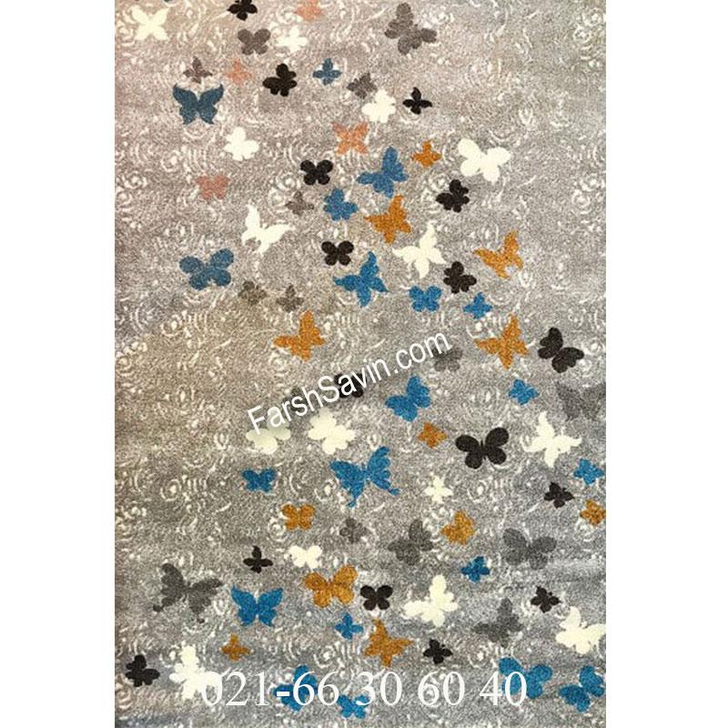 فرش ساوین 4054 نقره ای روشن فرش شیک