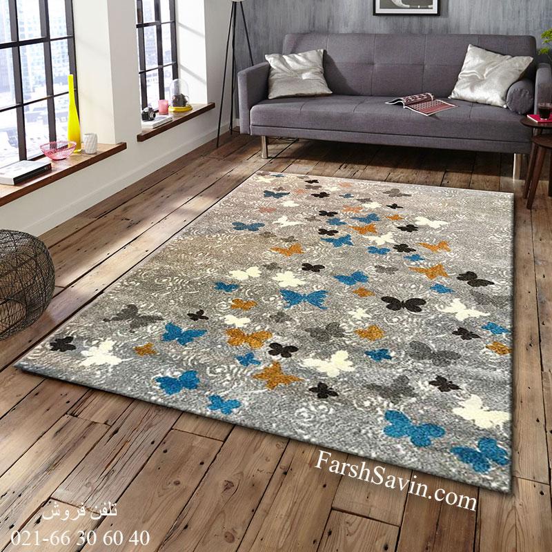فرش ساوین 4054 نقره ای روشن فرش ارزان
