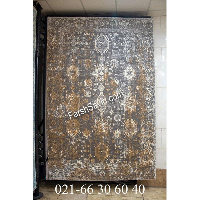 فرش ساوین 4061 طوسی فرش زیبا