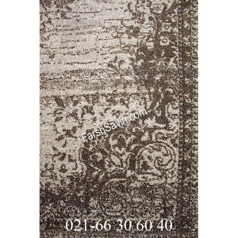 فرش ساوین 4062 نقره ای مشکی فرش ارزان