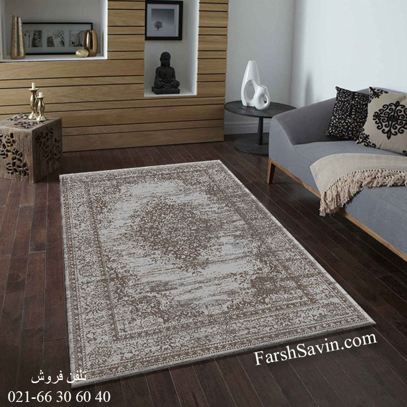 فرش ساوین 4062 نقره ای مشکی فرش اصیل