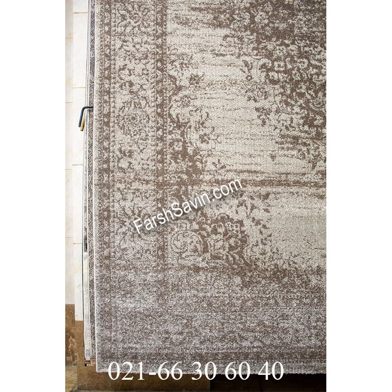 فرش ساوین 4062 نقره ای فرش خوش نقشه