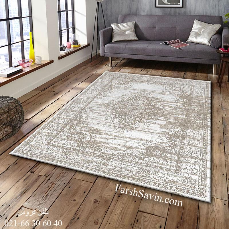 فرش ساوین 4062 نقره ای فرش با دوام