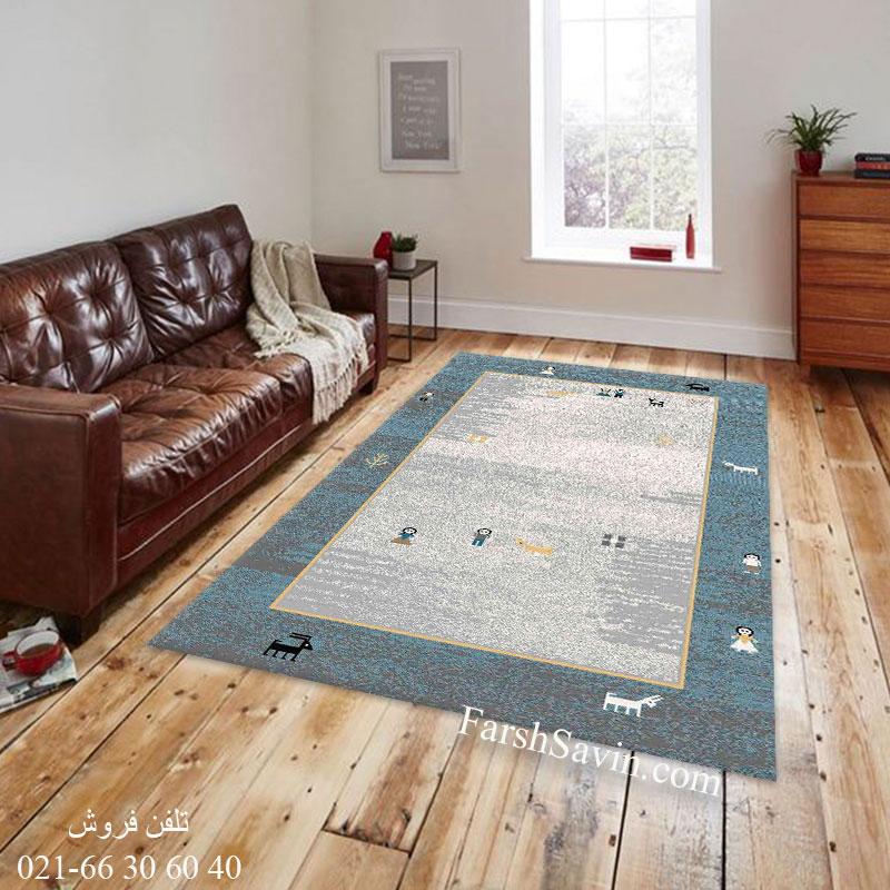 فرش ساوین 4064 آبی فرش آشپزخانه