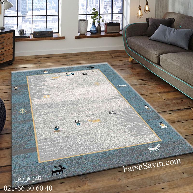 فرش ساوین 4064 آبی فرش گبه