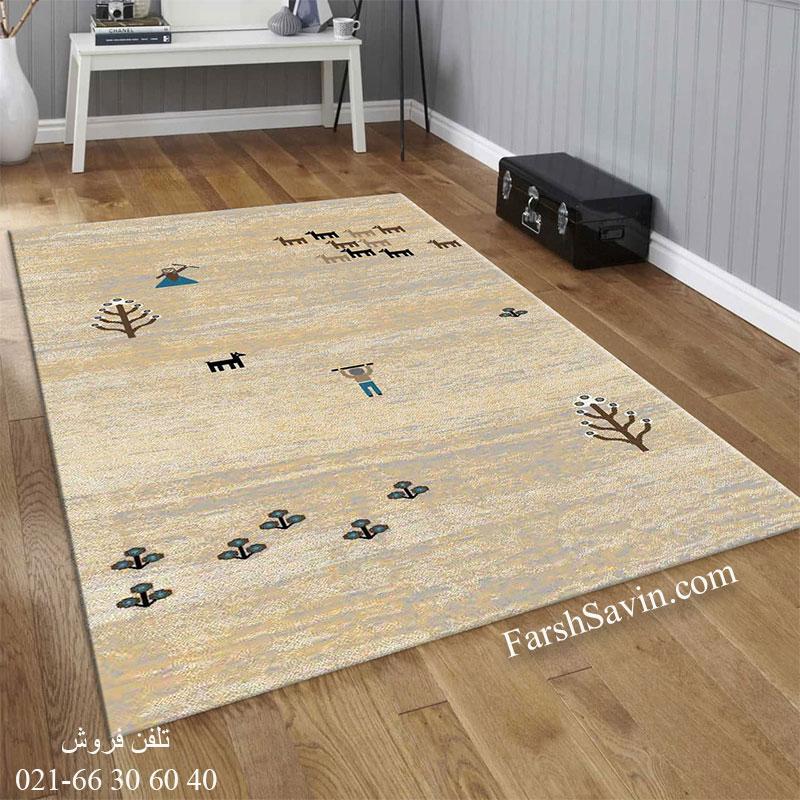 فرش ساوین 4065 کرم فرش مدرن