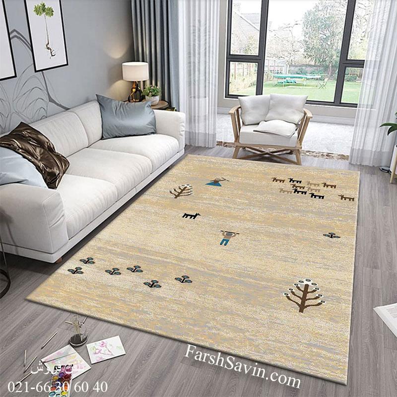 فرش ساوین 4065 کرم فرش سنتی
