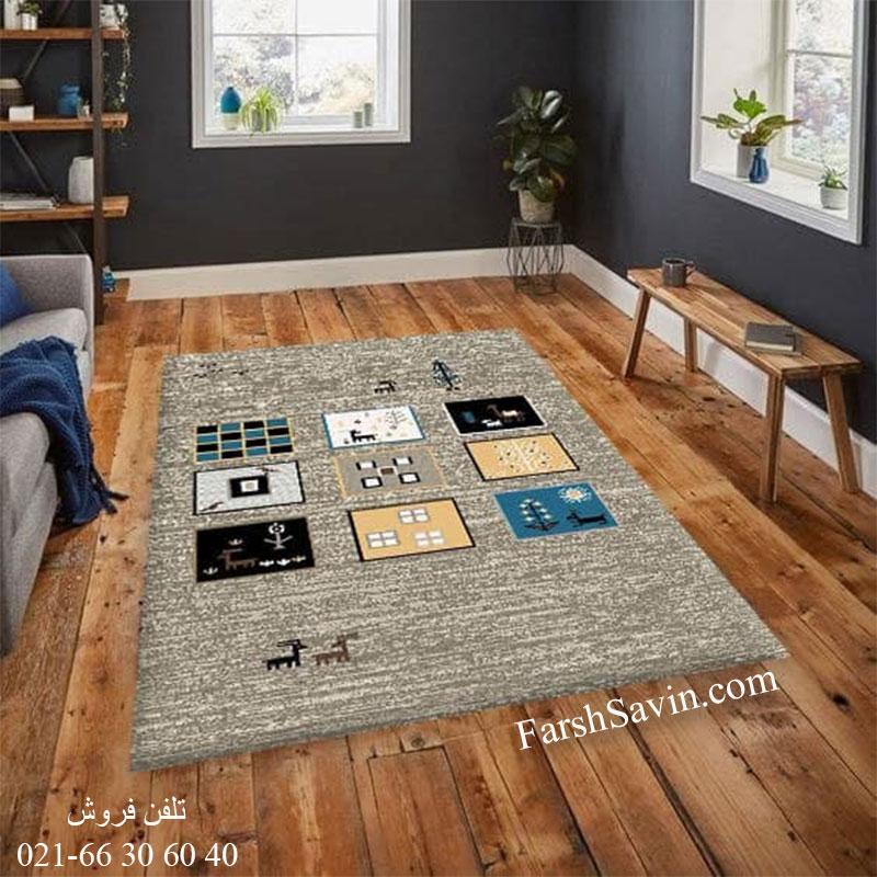 فرش ساوین 4067 شکلاتی فرش سنتی