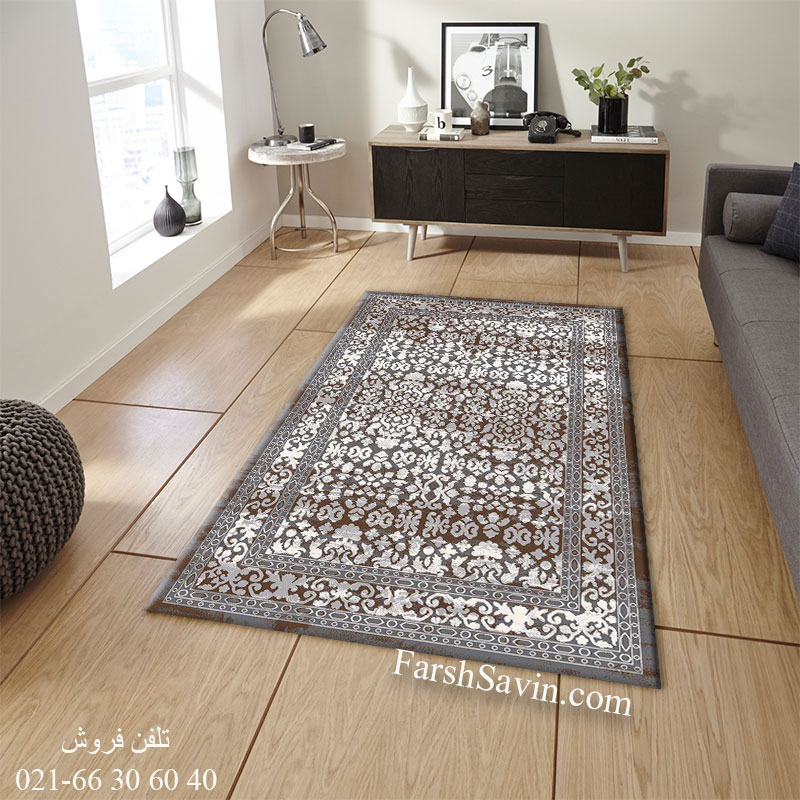 فرش ساوین 4068 طوسی فرش آشپزخانه