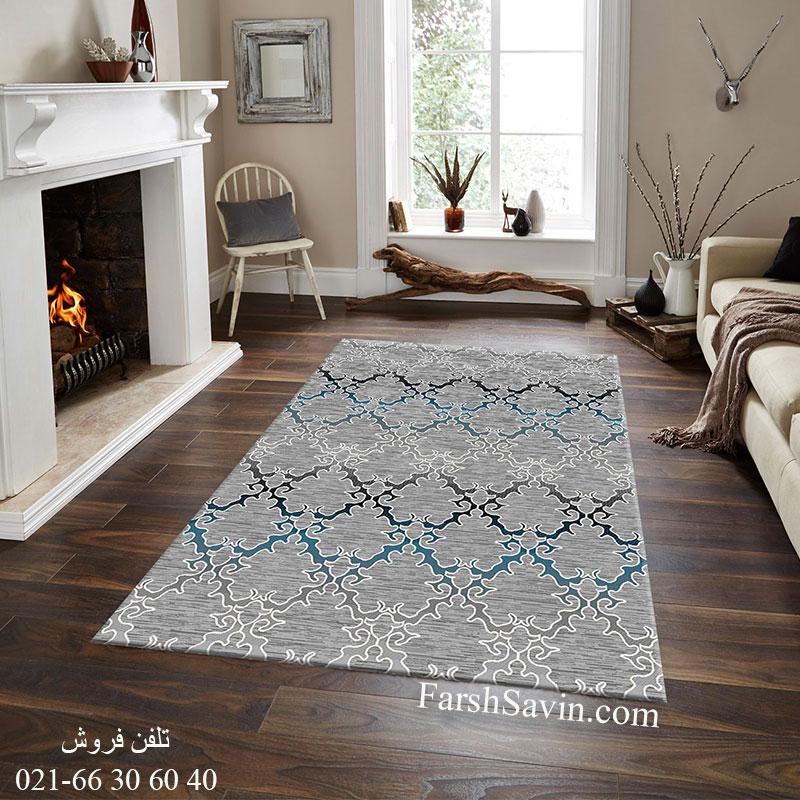 فرش ساوین 4072 طوسی فرش با کیفیت