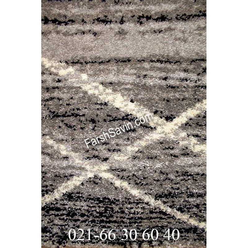 فرش ساوین 4083 نقره ای مشکی فرش پرفروش
