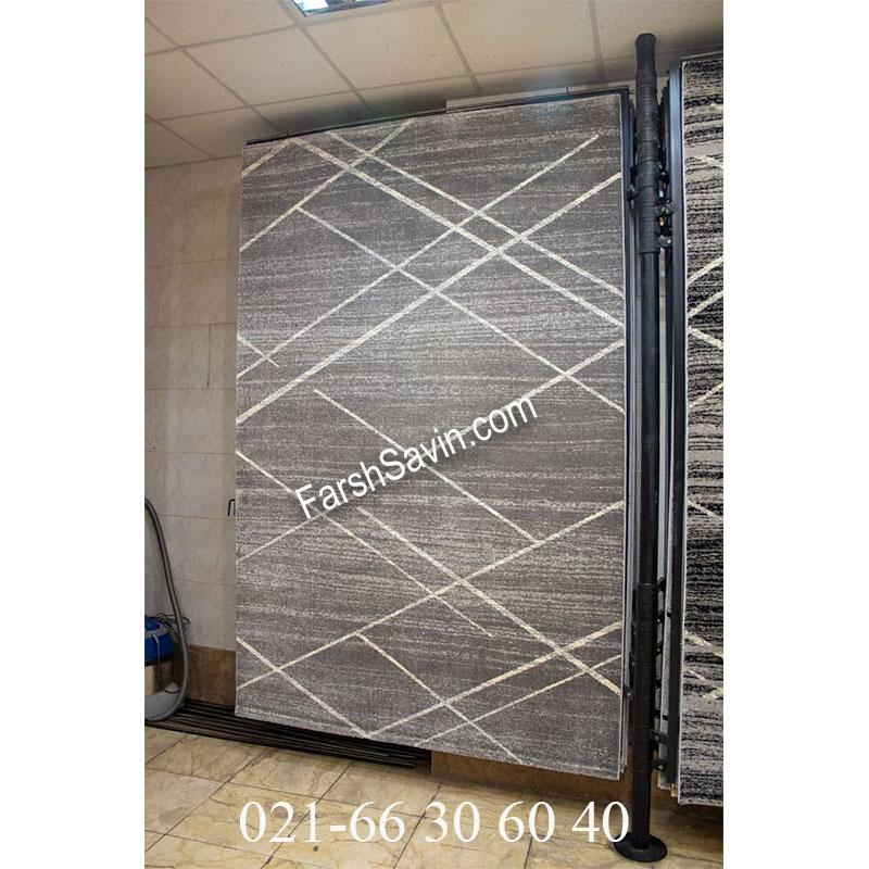 فرش ساوین 4083 طوسی فرش با کیفیت
