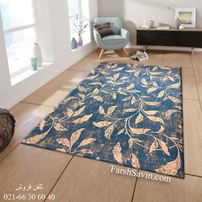 فرش ساوین 4089 آبی فرش فانتزی