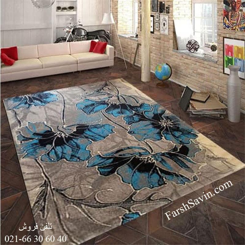 فرش ساوین 4090 آبی فرش آشپزخانه
