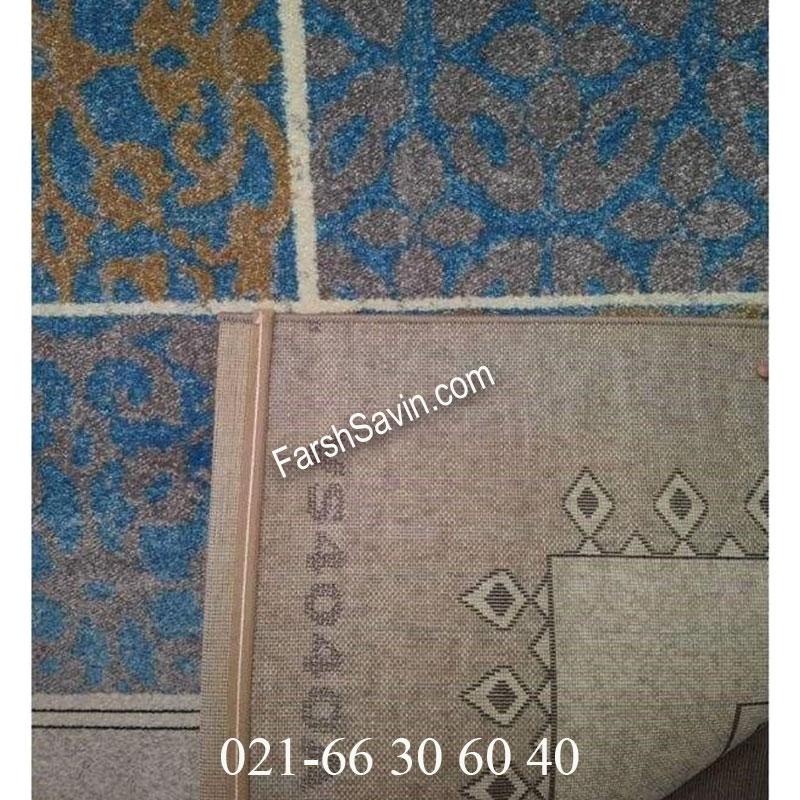 فرش ساوین آنتیک آبی فرش روستایی