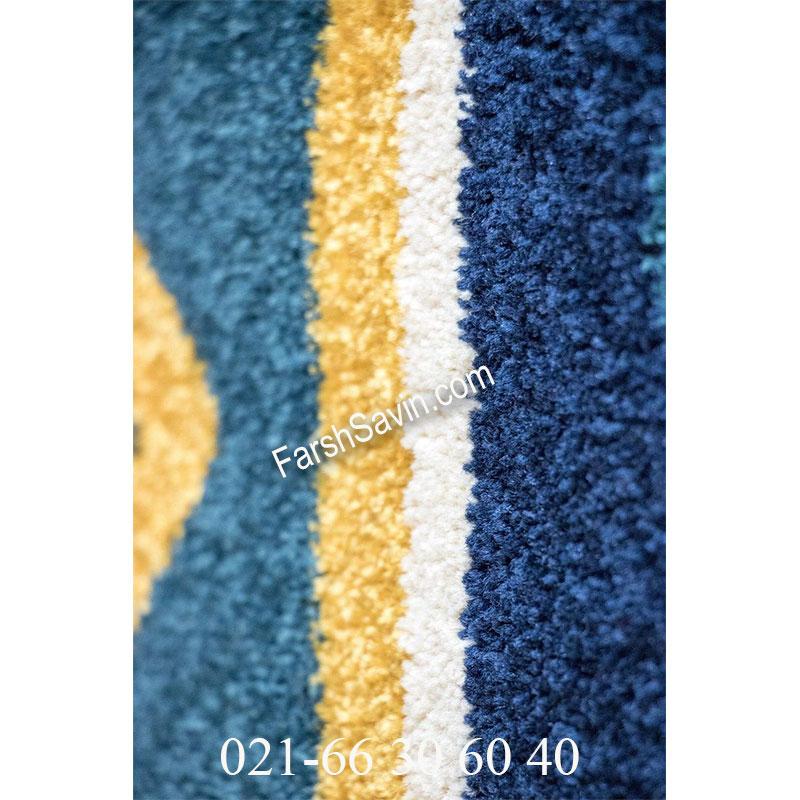 فرش ساوین پامچال سرمه ای فرش گبه