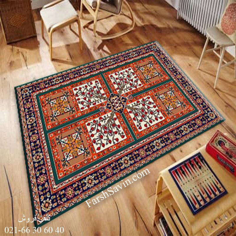 فرش ساوین باغ انار آبی فرش زیبا