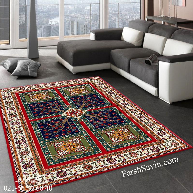 فرش ساوین باغ انار لاکی فرش خوش نقشه
