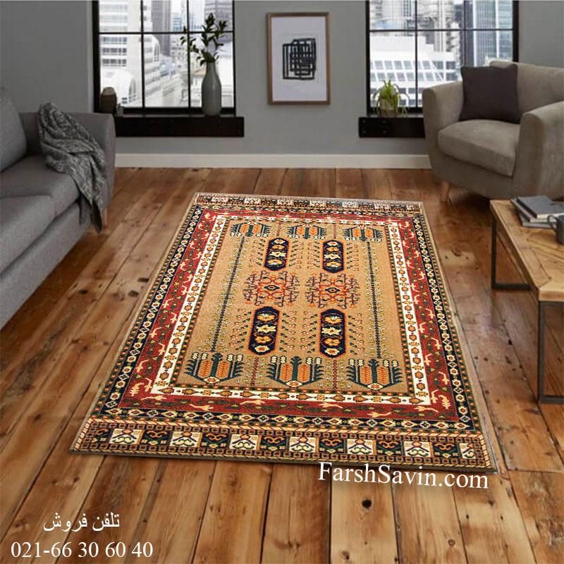 فرش ساوین بهرخ شکلاتی فرش روستایی