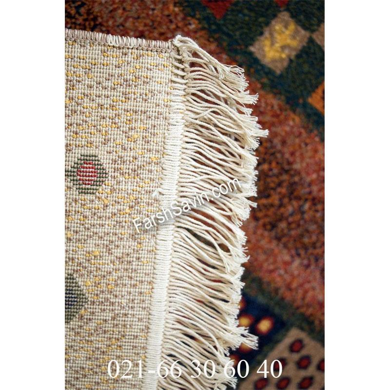 فرش ساوین زنبق کرم فرش اصیل ایرانی