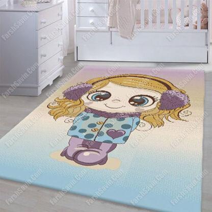 فرش ساوین 7289 کرم اتاق نوزاد دخترانه