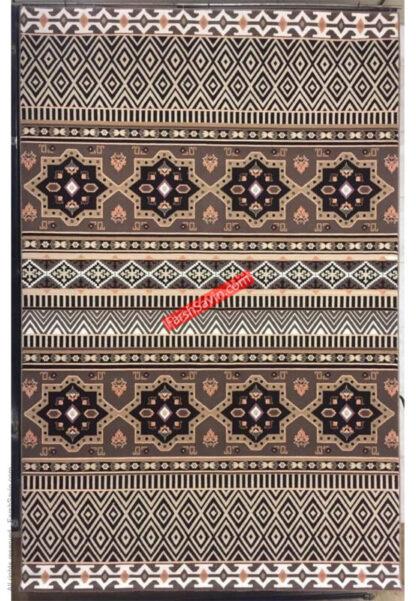 فرش ساوین 7703 قهوه ای گبه مدرن