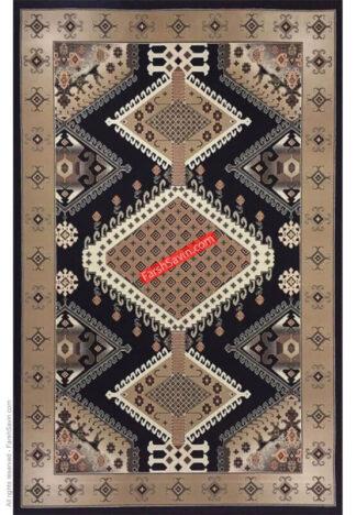 فرش ساوین 7706 قهوه ای گبه مدرن