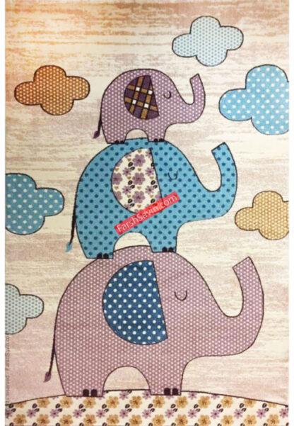 فرش ساوین طرح فیلی کرم اتاق سیسمونی