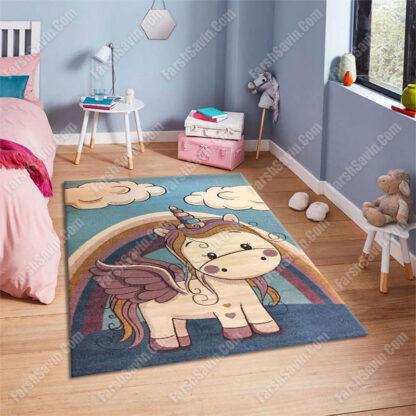 فرش ساوین تک شاخ آبی فانتزی اتاق نوزاد